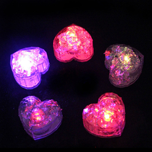 2017 New Gafas Led Glow Love Ice Cubes Color Changing Cup Light Without Switch Flashing Lamps Wedding Party Decoration Lights(China)
