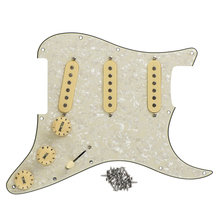 FLEOR 3 Single Coil Pickups SSS Loaded Prewired Electric Guitar Pickguard Pick Guard Aged Pearl Set for FD Strat Style Guitar