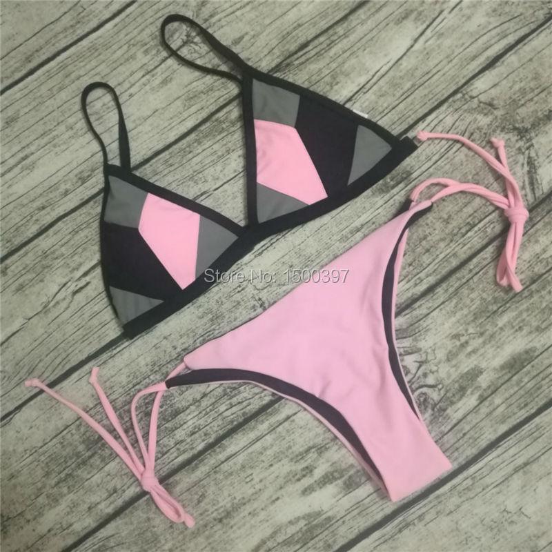 Hot Sale Women Sexy Mesh Two Pieces Bikini Patchwork Pink/Black Color Bandage Swimwear Brazilian Triangle Swimsuit Biquini Beach<br><br>Aliexpress