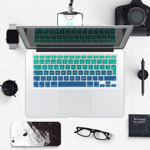 Rainbow Gradient Euro Spanish Silicone Keyboard Cover Skin Stickers for MacBook Air Pro 13 15 17 imac 21.5 27 Wireless keyboard(China)