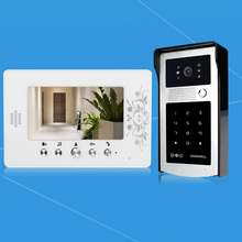 New pretty 7'' TFT-LCD wired color video door phone intercom doorbell system with RFID access outdoor camera password to unlock