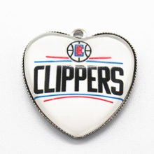 10pcs Heart Clippers Team Basketball Sports Dangle Charms Pendants DIY Jewelry Accessory Floating Hanging Charms