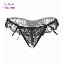 Buy New Women Thongs G Strings Lace Bow Open Crotch Pearls Tangas Women Sexy Panties Sexy Underwear Briefs Erotic Lingerie