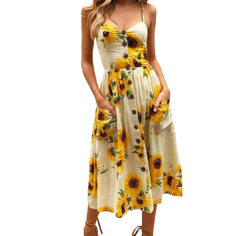 Summer 2018 Strap Print Floral Dot Long Boho Bohemian Beach Dress Women Sundress Sexy Casual Loose Elegant Vintage Ladies Dress 6