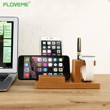FLOVEME Mini Bamboo Charging Dock Station Bracket Cradle Mobile Phone Charger Stand Holder For iPhone 7 6 6S Plus 5 5S SE iWatch