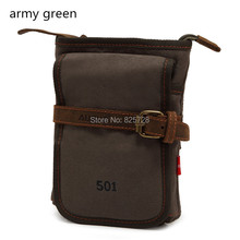Army Green Boy Men's Vintage Mini Canvas Genuine Leather Satchel Leisure Shoulder Bag Double Use Small Waist Pack Free Shipping