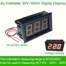 "AC 30V~500V Voltage Digital Voltmeter meter Two-Wire 0.56"" 110V/220V power supply electric Voltimetro detector tester indicator"