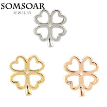 Somsoar Jewelry KEEP Keys Lucky Clover Charm Keeper fit Leather Keepers wrappable Bracelet for fashion jewelry 10pcs/lot