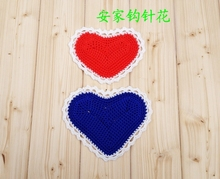 Free shipping romantic cotton crochet hearts doilies for love wedding  decor 12 pic/lot wholsale heart coaster table pads mats