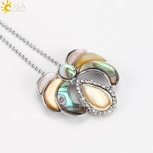 CSJA New Zealand Abalone Paua Pink Shell Natural Necklaces Pendants Rhinestone Drop Half Moon Round MOP Multicolor Jewelry E478