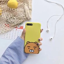 Korea Cartoon Ryan Lion bear back cover cases for iphone 7 7plus 6 6S plus soft Silicone case For iphone7 Lovely Ryan Bear cover(China)