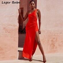 93b03cc09bd Leger Babe 2018 Knitting Long Dress Women One Shoulder Maxi Dress Sexy  Split Drape Gown Formal