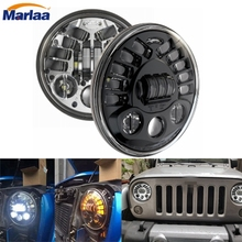 7 Inch Round LED Headlight Conversion Kit DLR Light Assembly For JEEP JK TJ FJ Hummer Motorcycle Headlight H4 For Harley Davison