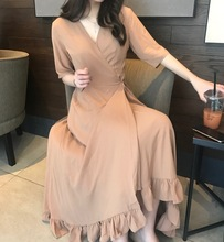 Beautiful Ruffles Hem Long Dress Summer Bohemian Vintage Dress Spring Summer Robe Longue Vestido Largo Vestiti Lunga