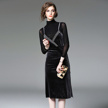 European New 2017 Spring Autumn Fashion Women's Turtleneck Long Seeve Shirt + Velvet Tank Sequined Dress Suit 2 Piece Sets Brand(China)