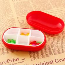 Oval portable Mini Useful Storage Box Medicine Pill Holder Tablet Cutter Splitter Colora six boxes W5 9.8*3.6*5.2 cm(China)