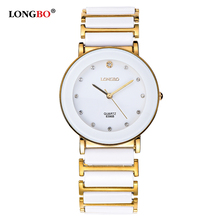 Longbo Brand Factory Online Shopping Couple watches Thin Ceramic Strap Bracelet Wrist Watch Famale Male Charm relogio 8396