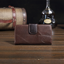 Genuine Leather Fashion Brand Men Wallet Multi - Card Wallet Men Holding Buckle Wallet Retro Men 's Wallet