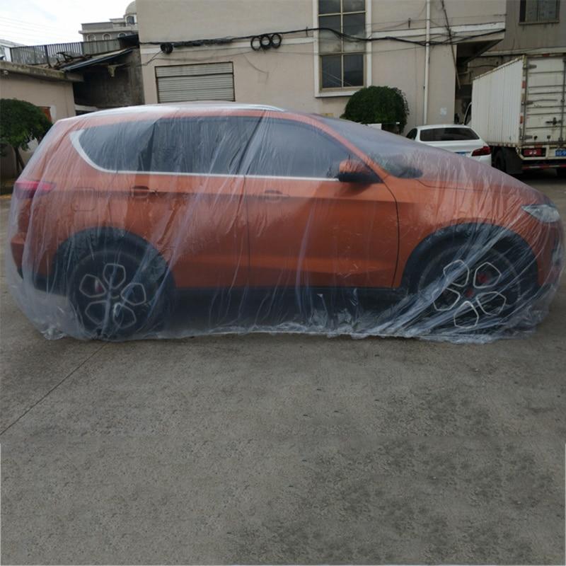 ครอบคลุมรถยนต์พลาสติกPEฟิล์มใสฝุ่นทิ้งรถปกทิ้งฝาครอบกันน้ำ 2