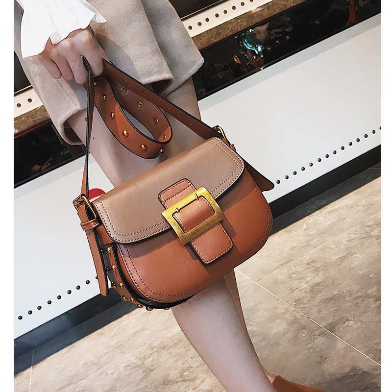 2018 High Quality PU Leather Crossbody Quiled bags Women Bag Fashion Brown Black Red Women Messenger Bags Rivet Shoulder Bag<br>