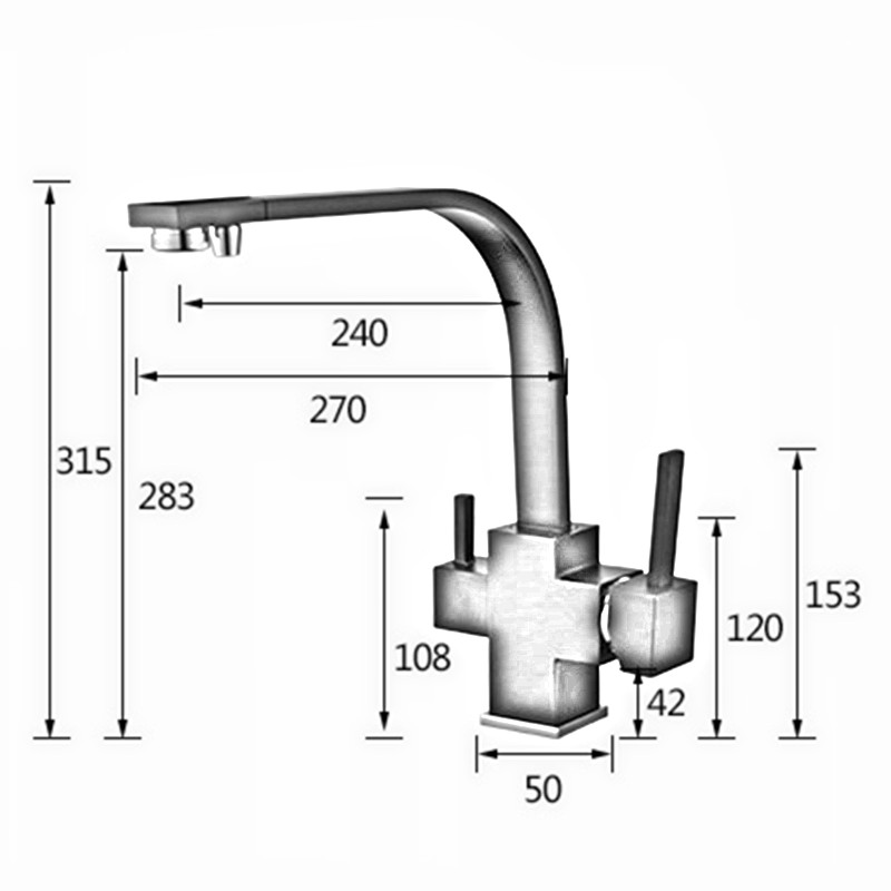 Square Style 3 way kitchen faucets