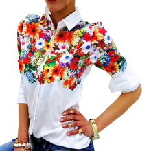 Floral/ Butterfly Printed Blouse Shirt Women Elegant White Blouse 2016 Autumn New turn-Down Collar Slim Fit Female Blouse Tops(China)