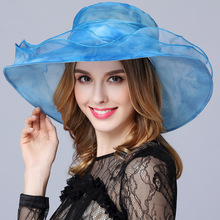 100%Silk Brim Foldable Wedding Dress Church Hats Beach Summer Fashion Hats For Women Gorras Fedora Trilby Cap Sun Derby Hat cap