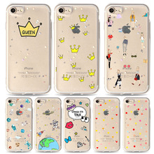 Buy Shining Bling Stars Cat Patten Phone Case TPU Glitter Love Heart Beautiful Girl Style Case iPhone 7 6 Clear Back Cover Capa for $1.25 in AliExpress store