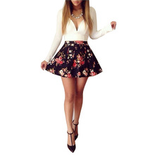 2017 promotion women fashion clothing patchwork print floral long sleeve black cute dresses sexy v neck short mini dress WDC354