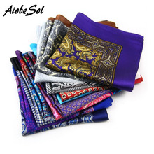 Free Shipping hot sale Men's soft Suit Pocket Square Silk Handkerchief brand Vintage Paisley Pattern Handkerchief