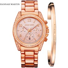 London Style Famous Brand HM Women Rhinestones Wristwatches Rose Gold Luxury Quartz-watch Fashion Bracelet Watches Free Shipping
