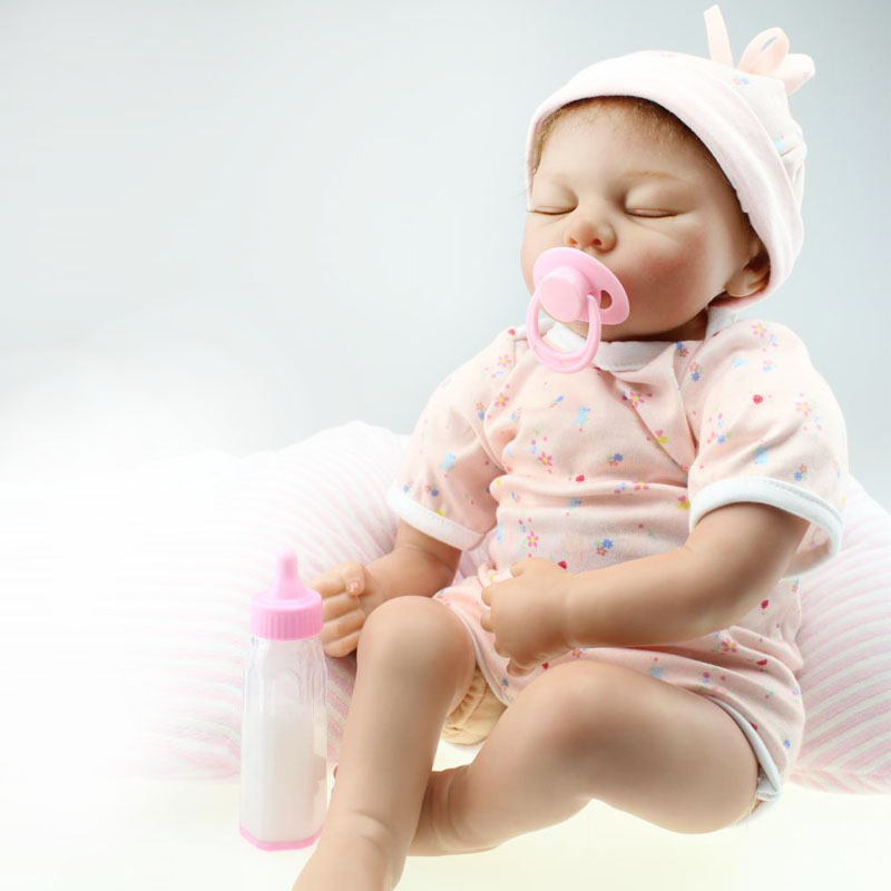 UCanaan New 50-55cm Handmade Silicone Reborn Baby Doll Soft Touch Lifelike Body Closed Eyes Baby Dolls Reborn Toys Free Shipping<br><br>Aliexpress
