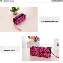 Beauty Fashion Geometric Zipper Cosmetic Bag Women Laser Flash Diamond Leather Makeup Bag Ladies Cosmetics Organizer New Trend
