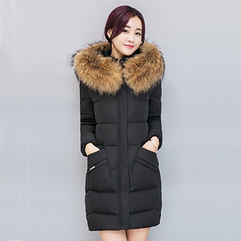 2017 New Winter Coat Women Jacket Fur Collar Hooded Womens Long thick Coat Warm Cotton Jacket Parka Casaco Plus Size DR2357Îäåæäà è àêñåññóàðû<br><br>