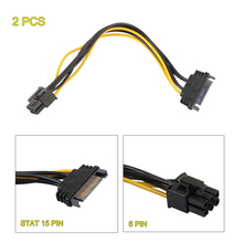 2Pcs 20cm SATA to PCI Express Adapter Cable 15pin SATA Male to 6pin PCI-e Female Power Cord for Video Card Graphics Cards(China)