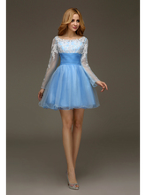 2016 Real cute Light Blue Short  Ball Gowns Prom Gowns Long Full Sheer Sleeves Sexy Open Back Juniors Girls Cocktail Dresses