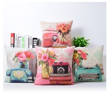 Telephone Radio Cushion Covers Flower Pillowcase Pink Blue Color 45X45cm Thin Linen Cotton Bedroom Sofa Decoration