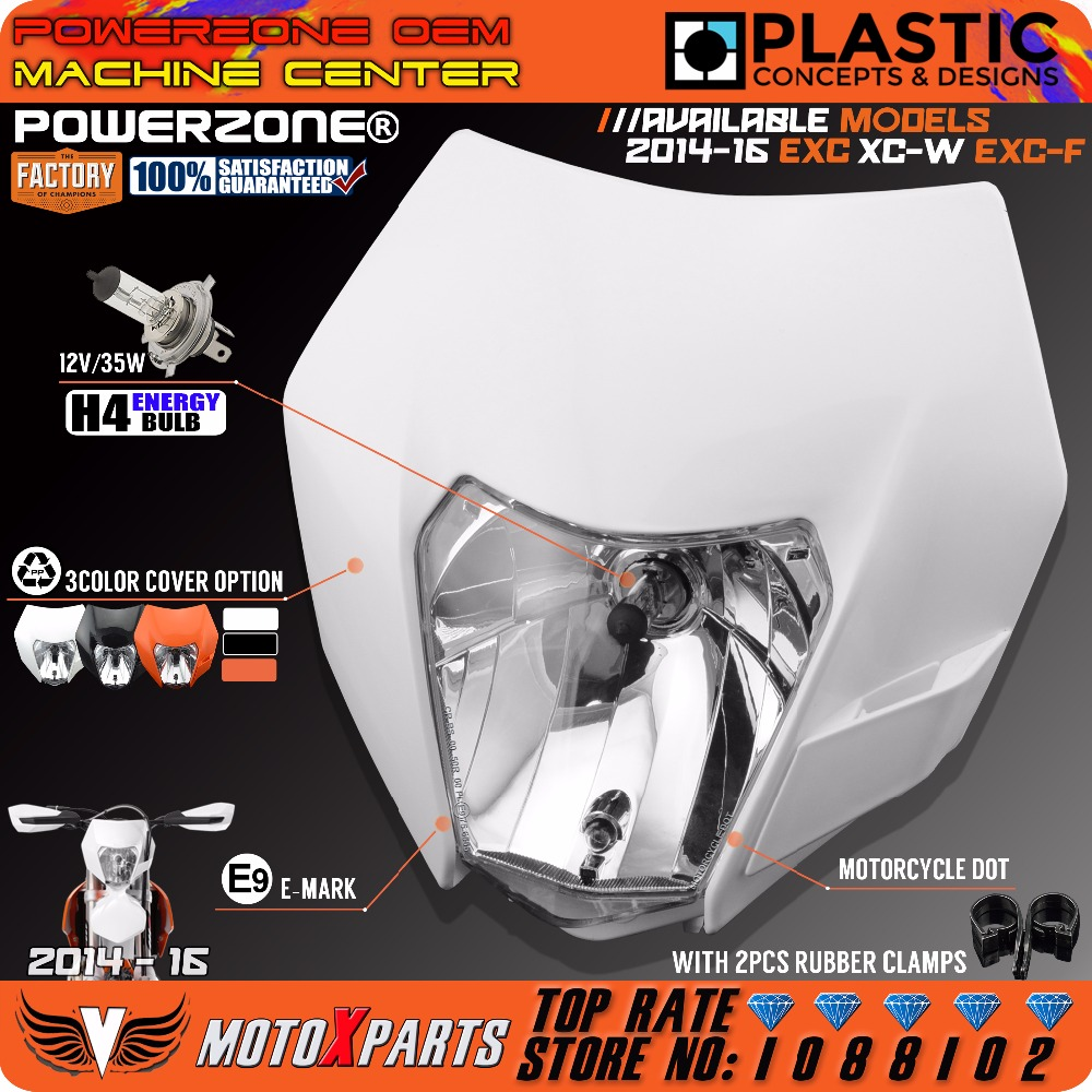 Powerzone Headlight Headlamp For KTM SX F EXC XCF SMR 2014 15 16 Motorcycle Dirt Bike MX Enduro Supermoto With H4 Bulb title=