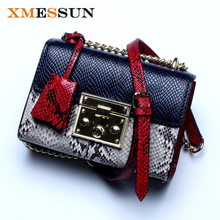 High Quality Genuine Leather Bags Women Messenger Bags Leather Handbags Snakeskin Purses Famous Brand Designer Ladies Hand Bag(China)