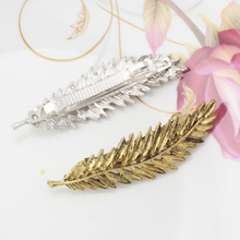 M MISM Fashion Women Lady Girl's Leaf Shape Hair Clips Shine Rhinestone Hairpins Barrette Hair Ornaments Accessories Side Clips(China)