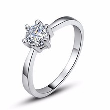 Uloveido Engagement Ring Crystal Silver Plated Wedding Rings for Women Vintage Cubic Zirconia Ring CZ Diamond Jewelry Aneis J002