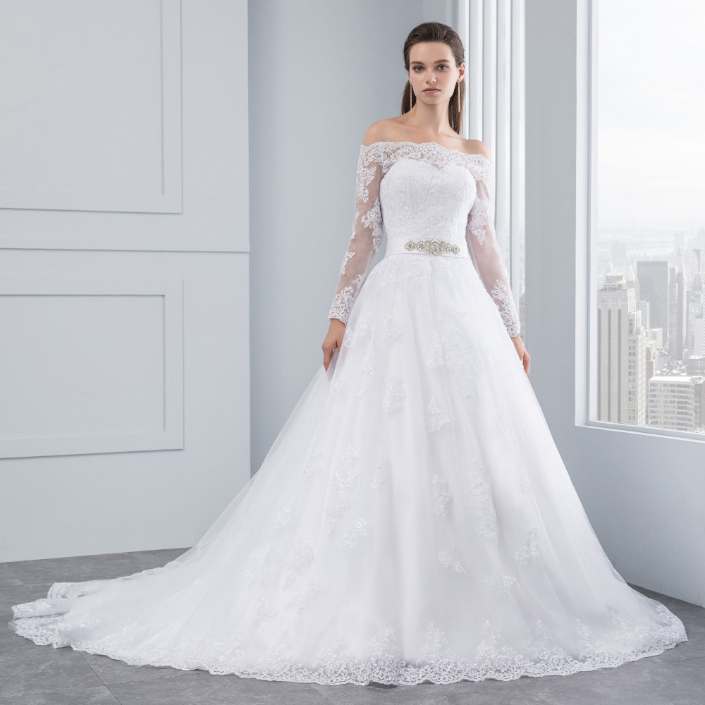 Lover Kiss Wedding Dresses Princess Lace Bridal Bride Gowns with veil robe de mariage Luxury Vintage Long Sleeves off Shoulder 4