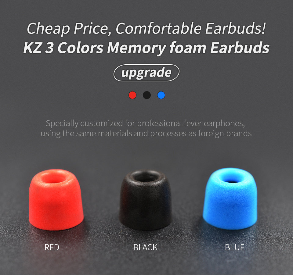 KZ_New_Upgrade_Original_3Pair_(6pcs)_Noise_Isolating_Comfortble_Memory_Foam_Ear_Tips_Ear_Pads_Earbuds_For_In_Earphone_Headphones_Red_Blue (1)