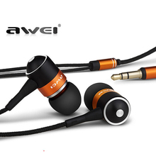 Awei Stereo Wired Headphone Headset In-Ear Earphone For Your In Ear Phone Bud iPhone Samsung PC Player Earbud Earpiece Sluchatka(China)