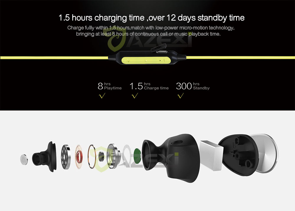 Azexi BTE-100 Bluetooth Earphone Wireless Sport Headset In-Ear Headphone Waterproof IPX4,1.5-Hr Quick Charge for Running Workout