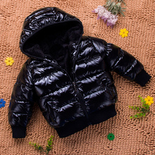 Baby child infant winter cotton-padded jacket thicken hooded solid coat boys girls unisex 100% down coat short kids outerwear(China)