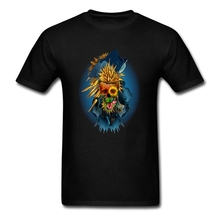 Floral Skull Vivid Screen Printing Men T-shirts  Short Sleeve O Neck Clothing Plus Size
