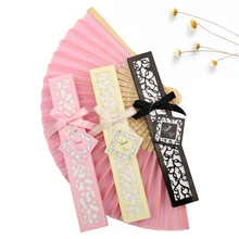 50PCS Satin Silk folding Hand Held Folding Bamboo Fans With Names for Summer Wedding Favor