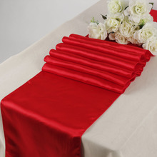 Wholesale New Free shipping 10PCS red Satin Table Runner For Wedding Party Banquet Table Decorations Favors(China)