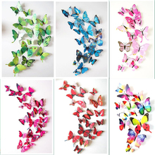 12pcs/lot 3D Magnet butterfly PVC Wedding Home Party Decorative DIY Kids Room TV Kitchen Fridge stickers(China)